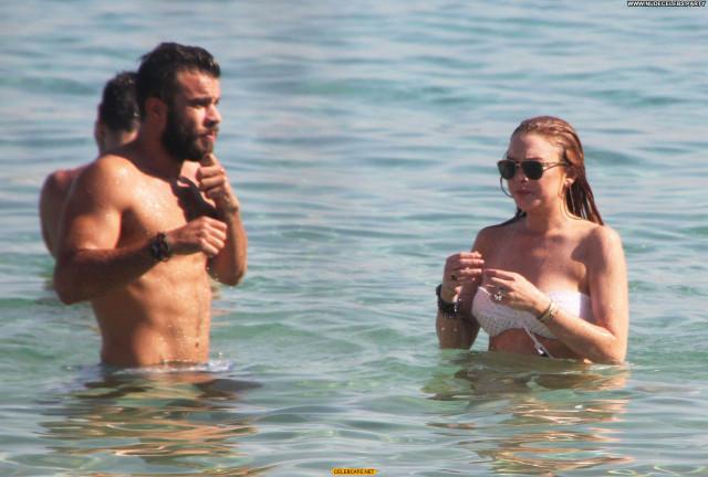 Lindsay Lohan The Beach Celebrity Beautiful Greece Beach Bikini Babe