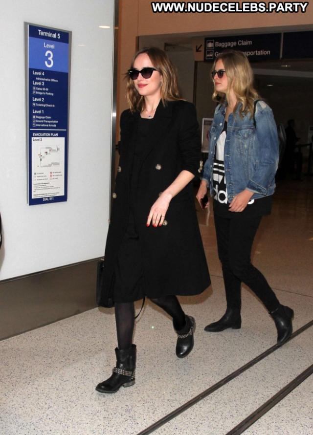 Dakota Johnson Lax Airport Babe Beautiful Celebrity Posing Hot Black