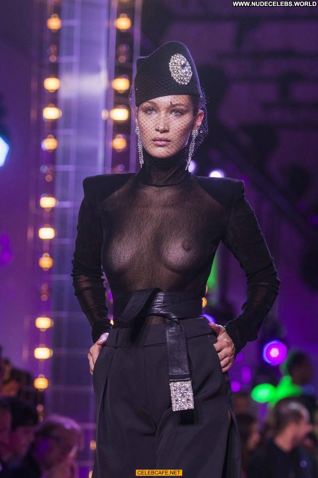 Bella Hadid No Source Paris See Through Posing Hot Beautiful Babe