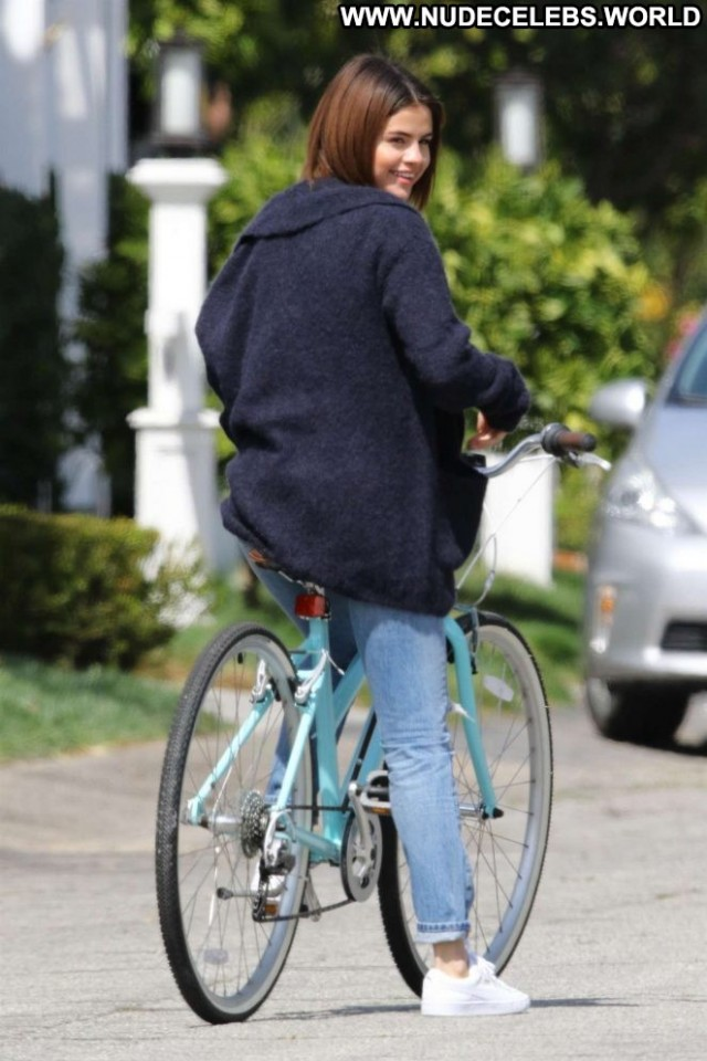 Selena Gome Studio City Babe Bike Beautiful Posing Hot Paparazzi